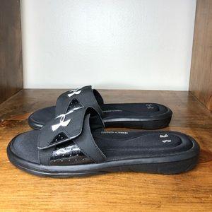 Under Armour Black Slip On Sandals 10